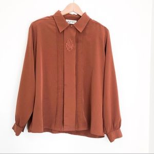 Vintage Camel Brown Pleated Embroider Blouse